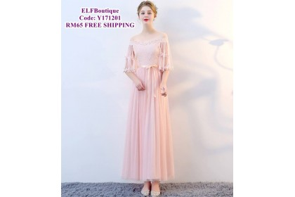 171201 ELFBOUTIQUE Bridemaid Long Dress Pink Grey Champagne FREE SHIPPING