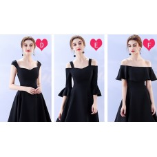 17040L ELF BOUTIQUE PREMIUM Bridesmaid sister dress /Black dinner gown off shoulder/ long sleeve dress/midi/ maxi knee length dress/ party dress