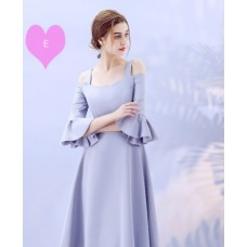 17038L ELF BOUTIQUE Bridesmaid sister dress/ Blue Grey dinner gown/ off shoulder long sleeve dress/ midi maxi knee length dress/ party dress