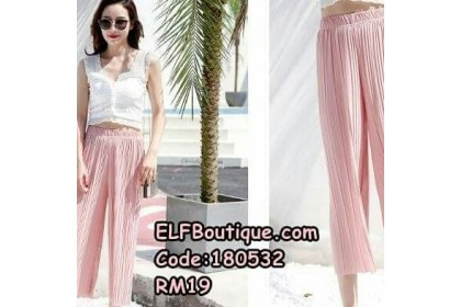 180532 DAURORA Pleated Palazzo Black/Maroon/Pink/Gray/Dark blue/Brown