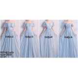 181065 Summer Chiffon Plain Bridesmaid Sisters Long Dress (BLUE PINK)