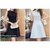 1155 High Waist Lacey Sleeveless Short Dress (BLACK GREY)