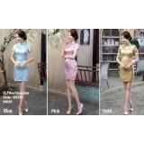 181201 Cheongsam Chinese New Year Short Dress (Blue Pink Gold)