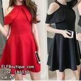 181032 Ruffled Elegant Short Section Waist Female Dress (Black Red)