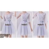 180844S AUTUMN BRIDESMAID SISTER BANQUET GREY SHORT DRESS