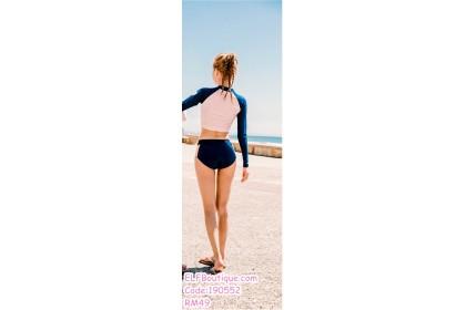 190552 Korean Woman Long Sleeve Two Pieces Sport Swimsuit Beachwear
