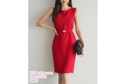 191183 Summer Office Ladies Pencil Dress Slim Vest Midi Dress Red