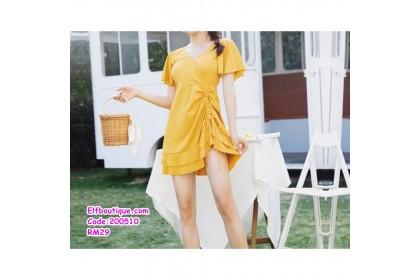 200510 Woman 2 Pcs Set Swimsuit Dress Yellow/Pink/Black