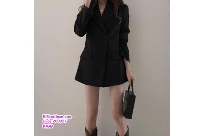 200927 Woman V-Neck Button Collar Office Wear Dress Khaki/Black