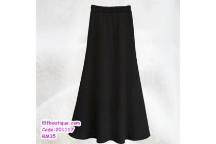 201117 Woman Slim Fit Fish Tail Maxi Skirt Black/Light Grey/Dark Grey/Wine Red