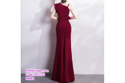 201120 Woman Sexy Elegant Off Shoulder Slim Fit Fish Tail Dinner Gown Dress Wine Red/Red/Black/Navy/Sky Blue