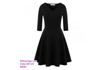 201122 Korean Style Sexy V-Neck Long Sleeve Dress Black