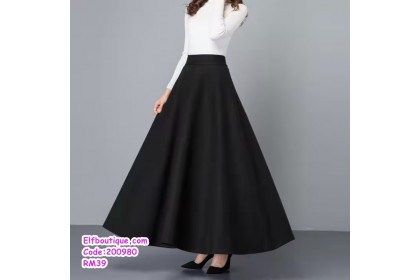 200980 Woman Slim Fit A Line Floor Length Maxi Skirt Black/Wine Red