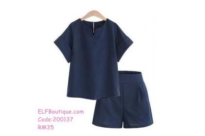 200137 Summer Short Sleeves T-Shirt Set Plus Size XL-5XL Grey/Blue