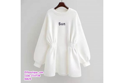 210738 Round Neck Long Sleeve Slim Fit Printed Thicken Hoodie Style Blouse White/Grey/Black/Pink