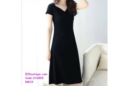 210892 Woman Short Sleeve V-Neck Simple A Line Dress